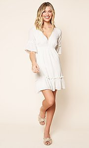 Image of short white casual party dress with short sleeves. Style: FG-BNB-21-SLD69003 Detail Image 3
