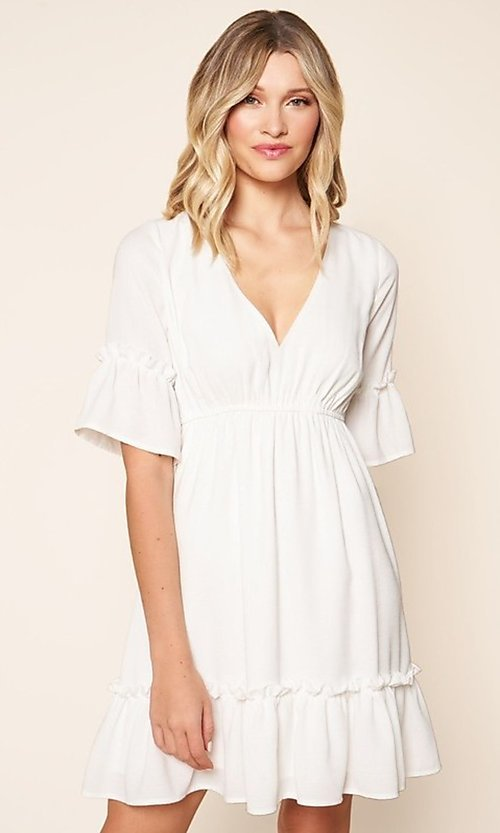 Image of short white casual party dress with short sleeves. Style: FG-BNB-21-SLD69003 Front Image