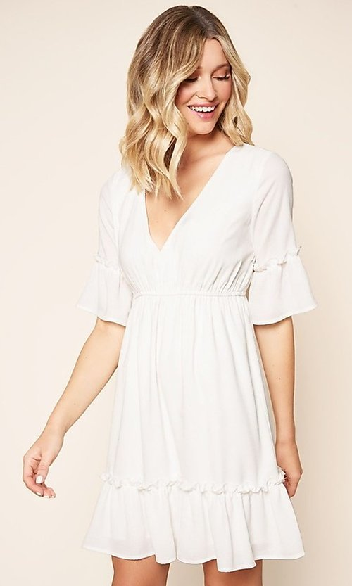 Image of short white casual party dress with short sleeves. Style: FG-BNB-21-SLD69003 Detail Image 1