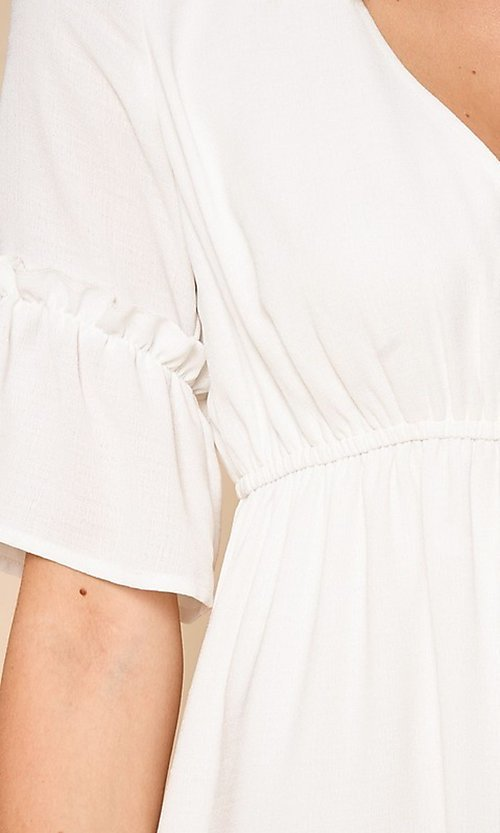 Image of short white casual party dress with short sleeves. Style: FG-BNB-21-SLD69003 Detail Image 2