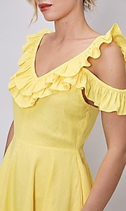 Image of canary yellow short casual summer party dress. Style: FG-DNB-21-Y18388 Detail Image 1