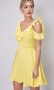 Image of canary yellow short casual summer party dress. Style: FG-DNB-21-Y18388 Detail Image 2