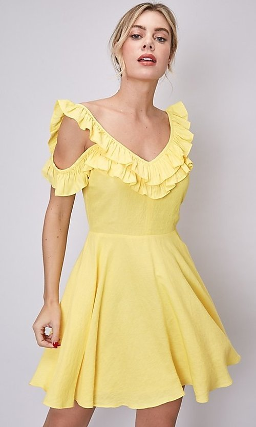 Image of canary yellow short casual summer party dress. Style: FG-DNB-21-Y18388 Front Image
