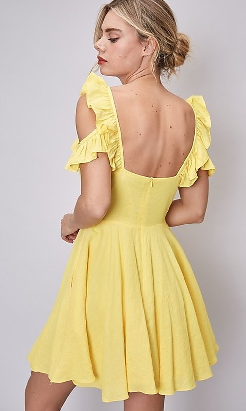 Image of canary yellow short casual summer party dress. Style: FG-DNB-21-Y18388 Back Image