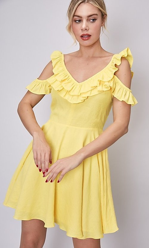 Image of canary yellow short casual summer party dress. Style: FG-DNB-21-Y18388 Detail Image 3