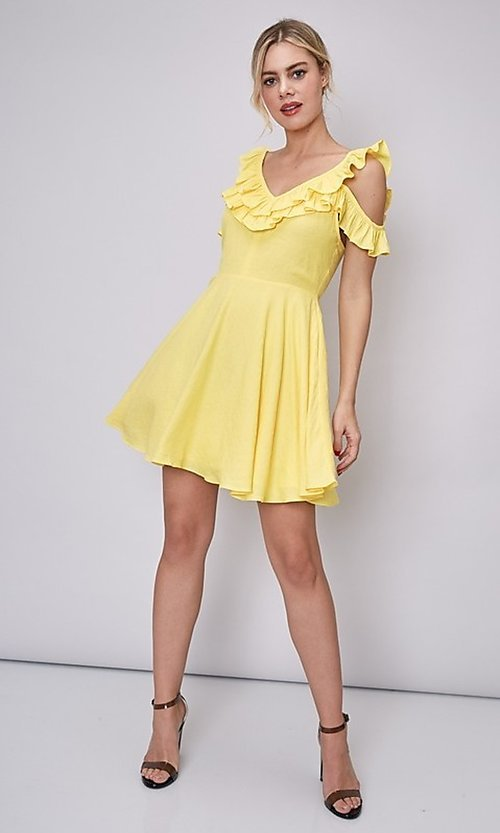 Image of canary yellow short casual summer party dress. Style: FG-DNB-21-Y18388 Detail Image 4