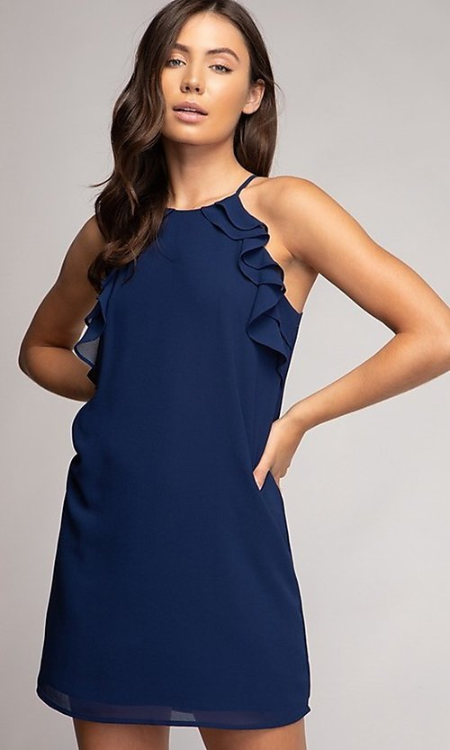 Image of short shift grad party dress with ruffles. Style: FG-NZB-21-HD107951 Detail Image 1