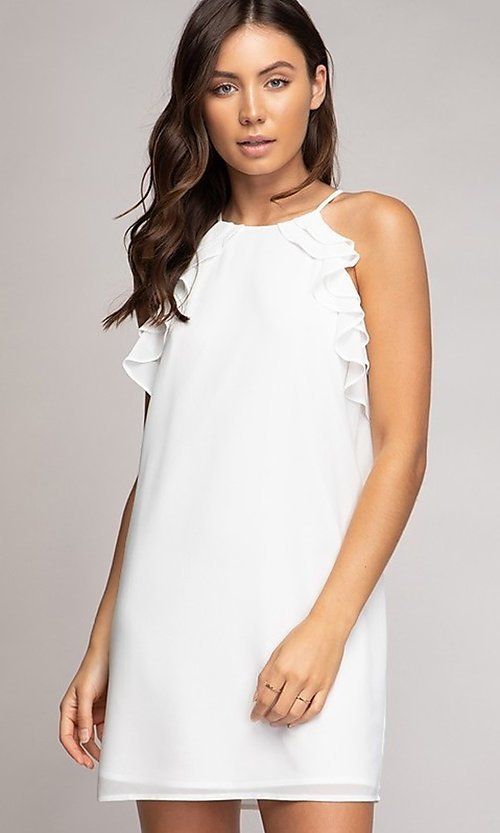 Image of short shift grad party dress with ruffles. Style: FG-NZB-21-HD107951 Front Image