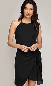 Image of wrap-style short semi-formal party dress. Style: FG-NZB-21-SD113863 Detail Image 1