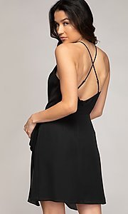Image of wrap-style short semi-formal party dress. Style: FG-NZB-21-SD113863 Detail Image 2