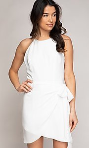 Image of wrap-style short semi-formal party dress. Style: FG-NZB-21-SD113863 Front Image