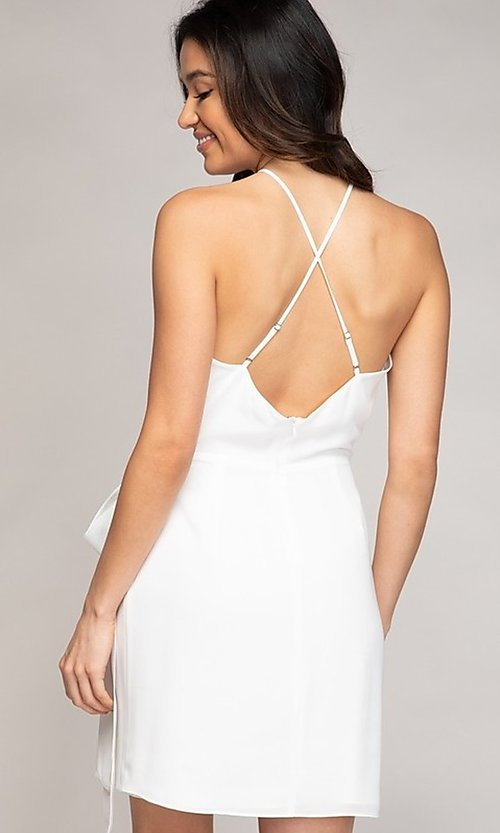 Image of wrap-style short semi-formal party dress. Style: FG-NZB-21-SD113863 Back Image