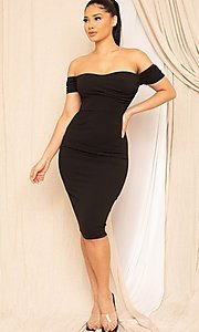 Image of form-fitting off-the-shoulder midi party dress. Style: FG-RTM-21-ID8029SP Detail Image 3