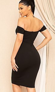 Image of form-fitting off-the-shoulder midi party dress. Style: FG-RTM-21-ID8029SP Detail Image 4