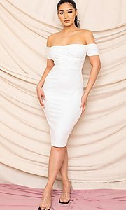 Image of form-fitting off-the-shoulder midi party dress. Style: FG-RTM-21-ID8029SP Front Image