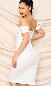 Image of form-fitting off-the-shoulder midi party dress. Style: FG-RTM-21-ID8029SP Back Image