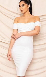Image of form-fitting off-the-shoulder midi party dress. Style: FG-RTM-21-ID8029SP Detail Image 1