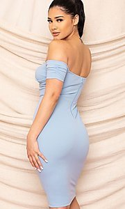 Image of form-fitting off-the-shoulder midi party dress. Style: FG-RTM-21-ID8029SP Detail Image 7