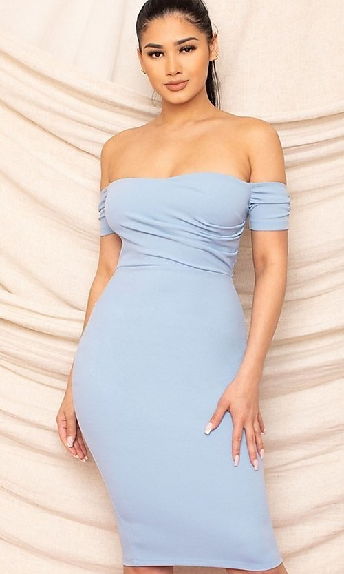 Image of form-fitting off-the-shoulder midi party dress. Style: FG-RTM-21-ID8029SP Detail Image 6