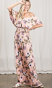 Image of long pink print off-the-shoulder maxi dress. Style: FG-OST-21-A79266-BX Front Image