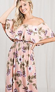 Image of long pink print off-the-shoulder maxi dress. Style: FG-OST-21-A79266-BX Detail Image 1