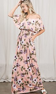 Image of long pink print off-the-shoulder maxi dress. Style: FG-OST-21-A79266-BX Detail Image 3
