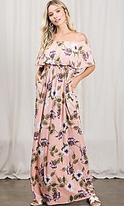 Image of long pink print off-the-shoulder maxi dress. Style: FG-OST-21-A79266-BX Detail Image 4