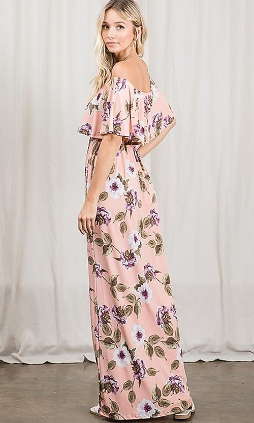 Image of long pink print off-the-shoulder maxi dress. Style: FG-OST-21-A79266-BX Back Image