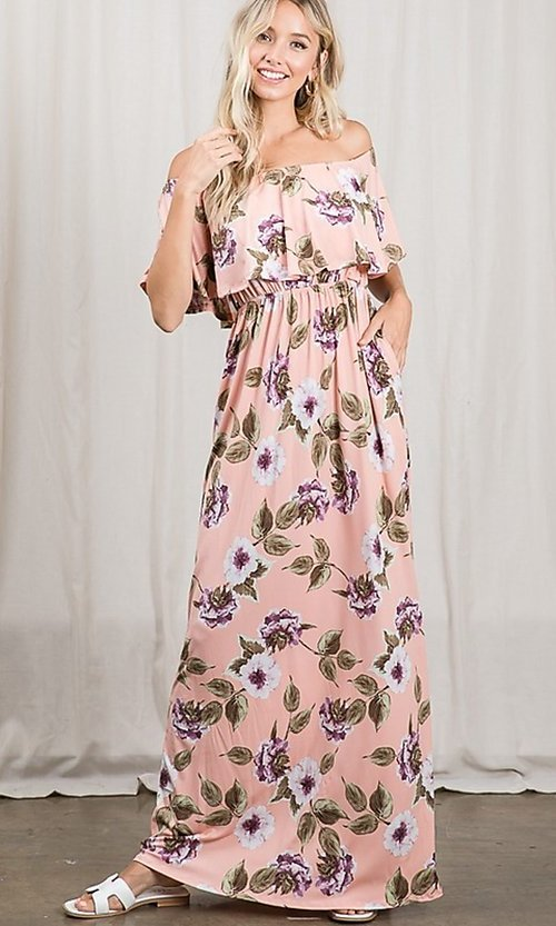 Image of long pink print off-the-shoulder maxi dress. Style: FG-OST-21-A79266-BX Detail Image 2