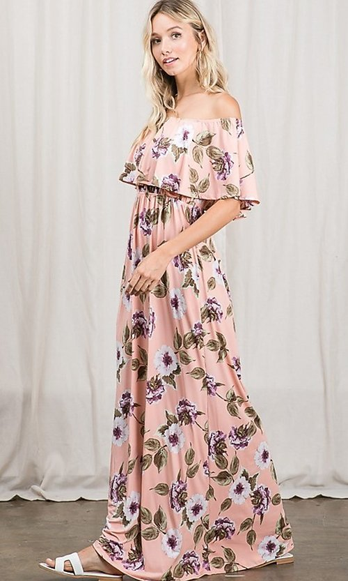 Image of long pink print off-the-shoulder maxi dress. Style: FG-OST-21-A79266-BX Detail Image 5
