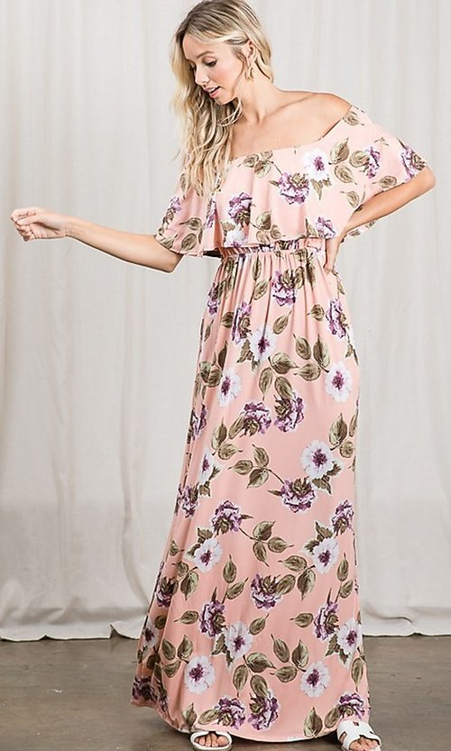 Image of long pink print off-the-shoulder maxi dress. Style: FG-OST-21-A79266-BX Detail Image 6