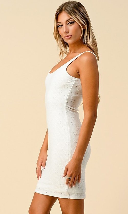 Image of sleeveless short eyelet casual party dress. Style: LAS-HAH-21-JD43168A Detail Image 1