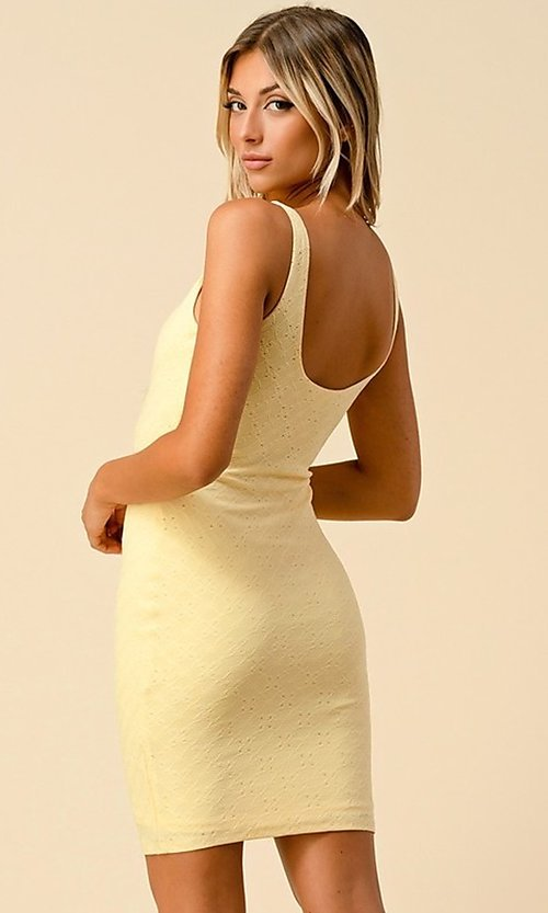 Image of sleeveless short eyelet casual party dress. Style: LAS-HAH-21-JD43168A Detail Image 4