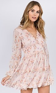 Image of long sleeve short pink print casual party dress. Style: FG-FNC-21-EKD2287 Front Image