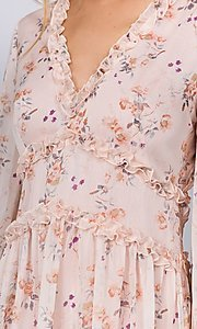 Image of long sleeve short pink print casual party dress. Style: FG-FNC-21-EKD2287 Detail Image 2