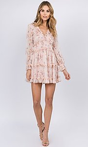Image of long sleeve short pink print casual party dress. Style: FG-FNC-21-EKD2287 Detail Image 3