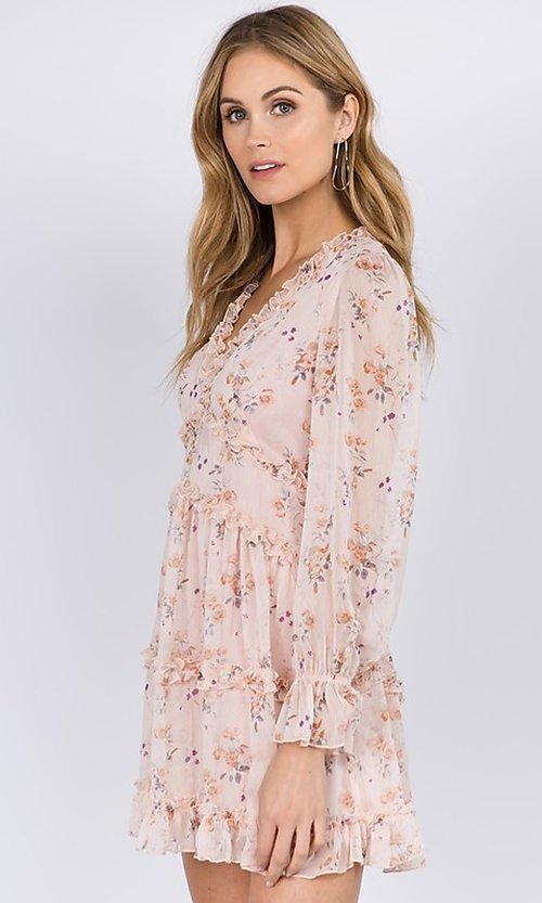 Image of long sleeve short pink print casual party dress. Style: FG-FNC-21-EKD2287 Detail Image 1