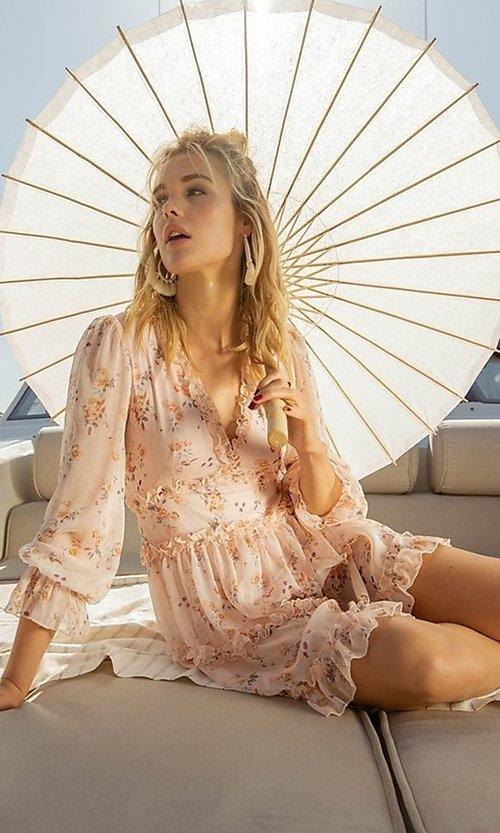 Image of long sleeve short pink print casual party dress. Style: FG-FNC-21-EKD2287 Detail Image 4