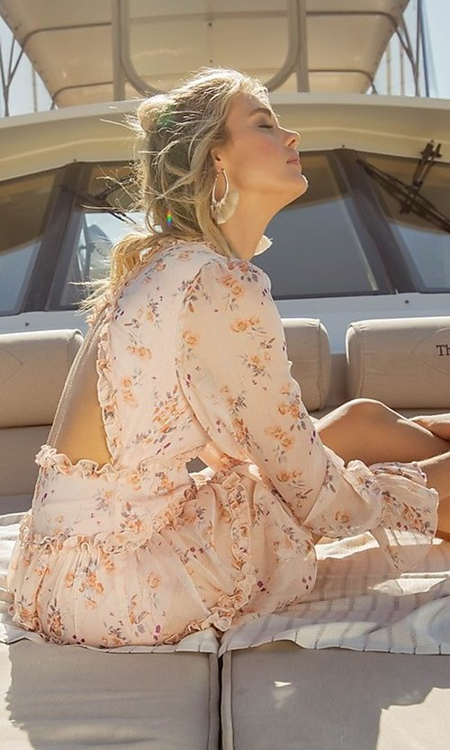 Image of long sleeve short pink print casual party dress. Style: FG-FNC-21-EKD2287 Detail Image 5