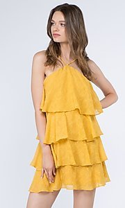 Image of short textured tiered ruffle party dress. Style: FG-FNC-21-EKD2247Y Detail Image 5