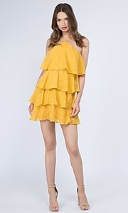 Image of short textured tiered ruffle party dress. Style: FG-FNC-21-EKD2247Y Detail Image 8