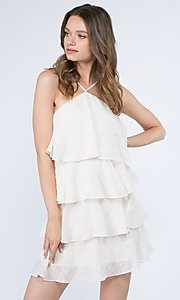 Image of short textured tiered ruffle party dress. Style: FG-FNC-21-EKD2247Y Detail Image 1