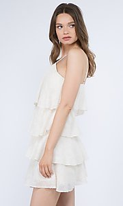 Image of short textured tiered ruffle party dress. Style: FG-FNC-21-EKD2247Y Detail Image 2