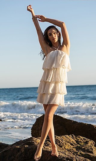 Short Textured Tiered Ruffle Party Dress