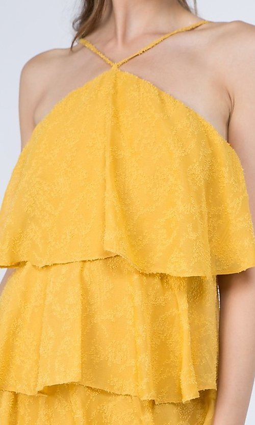 Image of short textured tiered ruffle party dress. Style: FG-FNC-21-EKD2247Y Detail Image 7