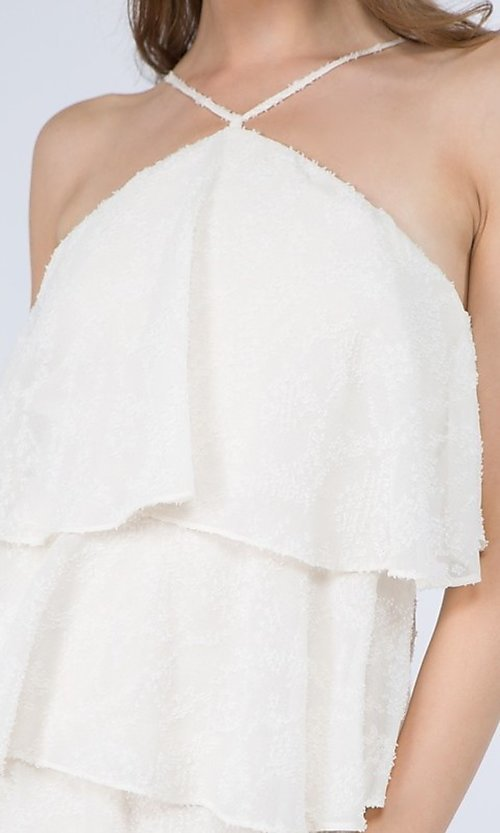Image of short textured tiered ruffle party dress. Style: FG-FNC-21-EKD2247Y Detail Image 3