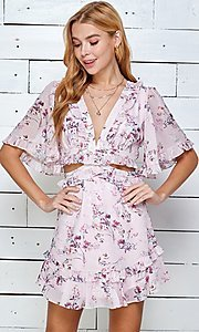 Image of short print casual summer dress with cut outs. Style: LAS-TWE-21-5101IMD Detail Image 2