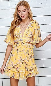 Image of short print casual summer dress with cut outs. Style: LAS-TWE-21-5101IMD Detail Image 5