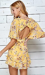 Image of short print casual summer dress with cut outs. Style: LAS-TWE-21-5101IMD Detail Image 6