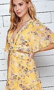Image of short print casual summer dress with cut outs. Style: LAS-TWE-21-5101IMD Detail Image 7